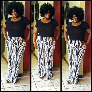 Pants - Beautiful black and white wide leg pants